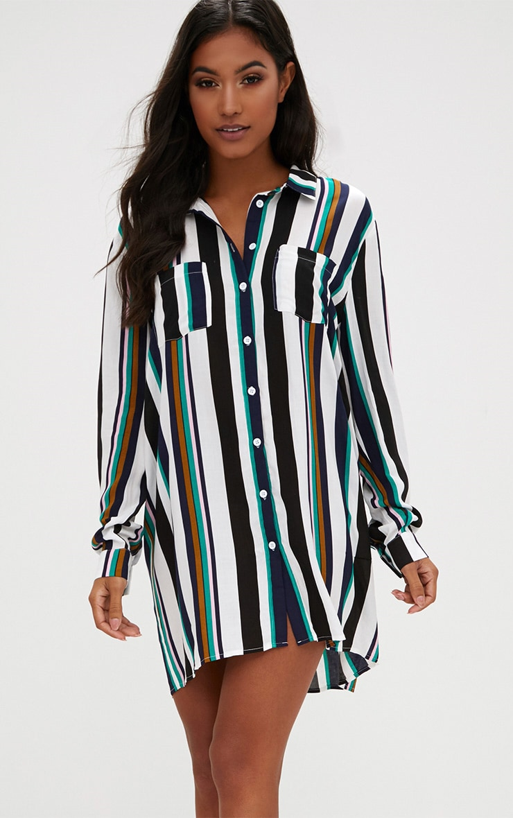 Stripe Shirt Dress 1