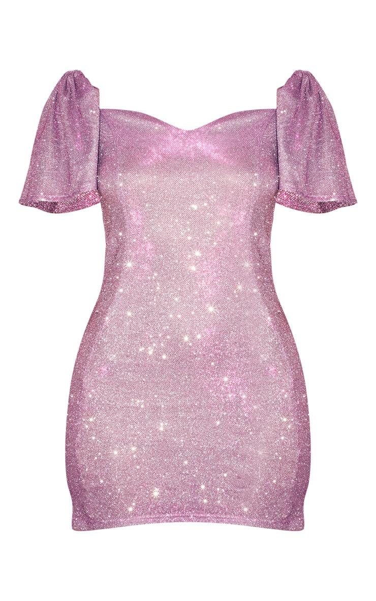 Purple Glitter Puff Sleeve Low Back Bodycon Dress 3