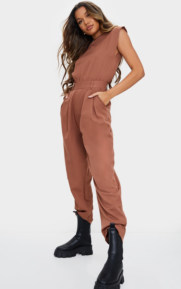 Chocolate Shoulder Pad Tailored Woven Jumpsuit 3