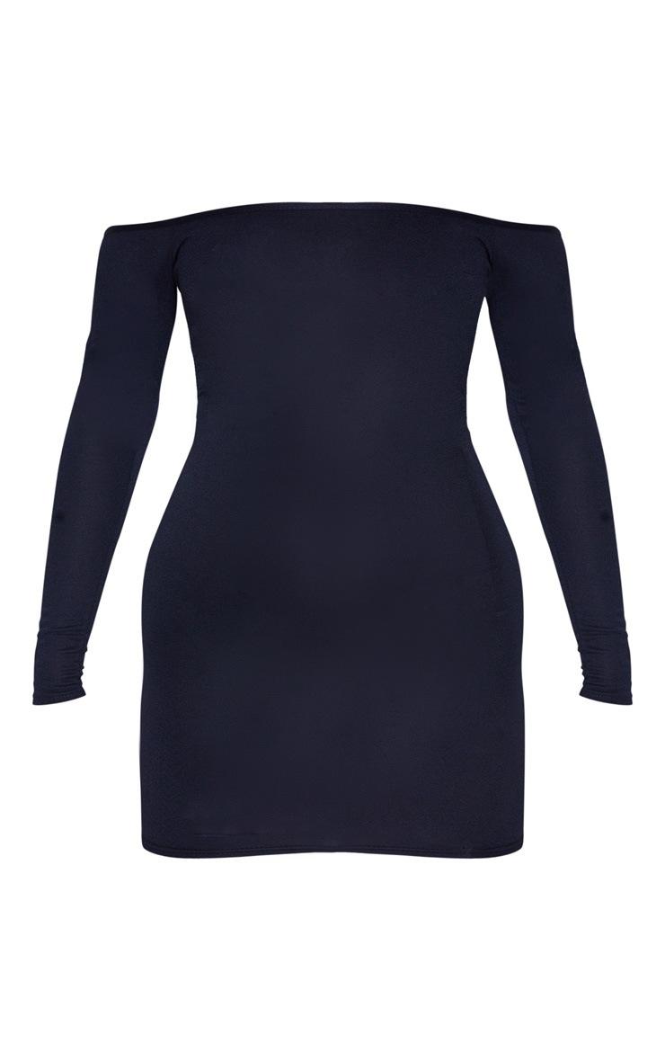 Navy Bardot Bodycon Dress 5
