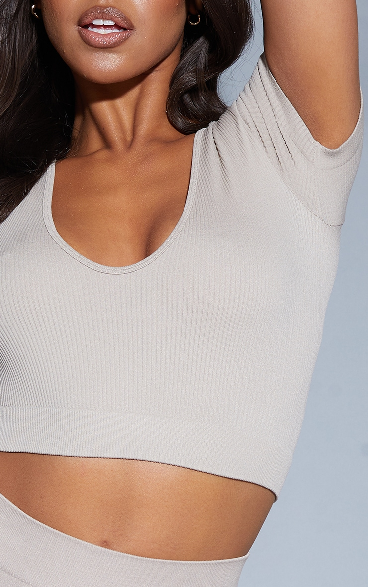 Stone Structured Contour V Neck Band Short Sleeve Crop Top 4
