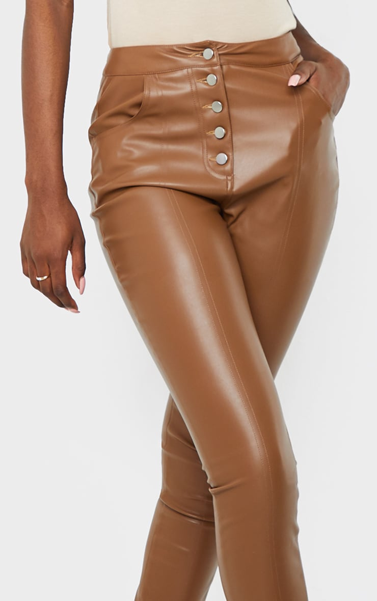 Tall Brown PU Button Detail Trousers 4