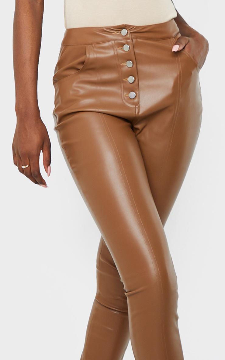 Tall Brown PU Button Detail Pants 4