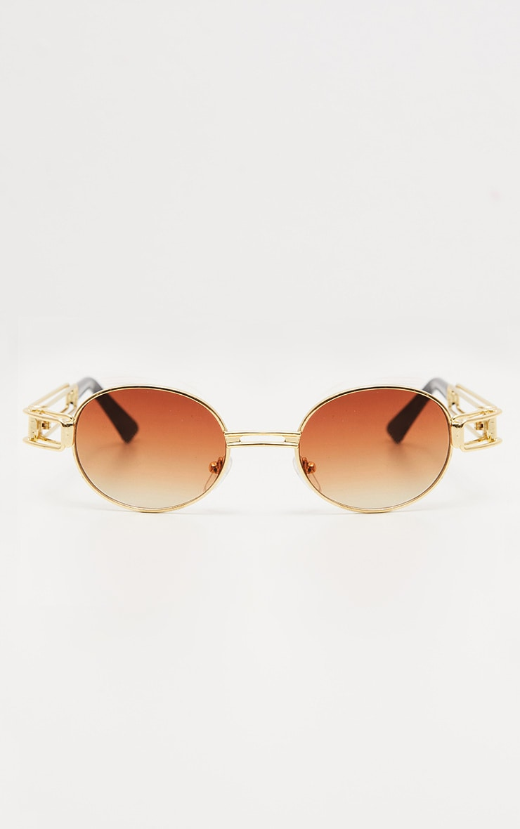 Gold Oval Metal Frame Sunglasses 3