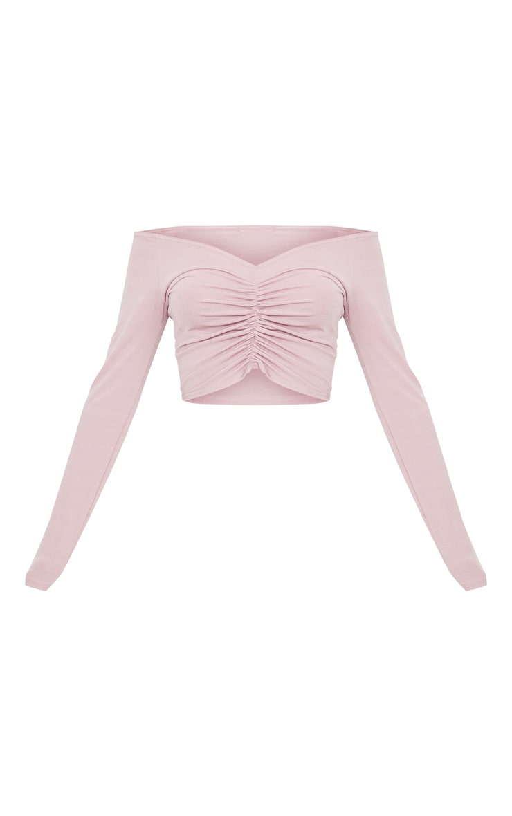 Dusty Pink Slinky Ruched Front Long Sleeve Crop Top 3