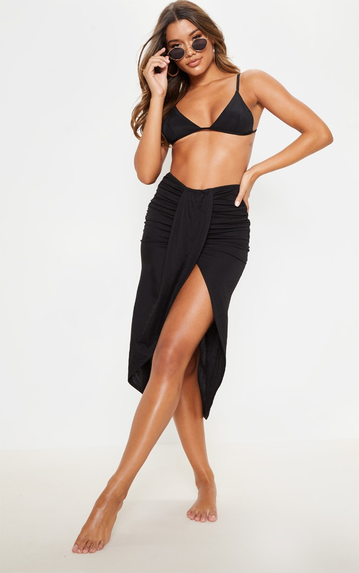 Black Knot Front Wrapped Sarong 1