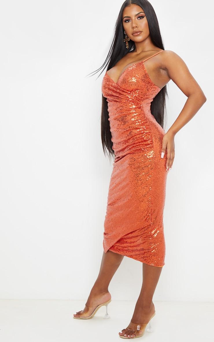 Burnt Orange Sequin Wrap Over Midaxi Dress 1