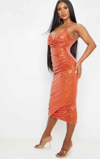 Burnt Orange Sequin Wrap Over Midaxi Dress