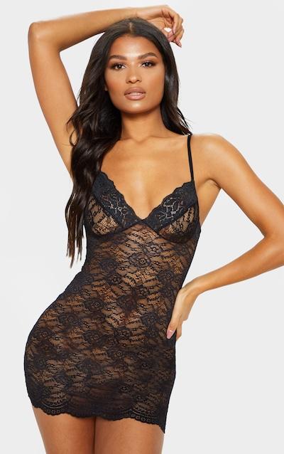 Black Lingerie Lace Slip Dress