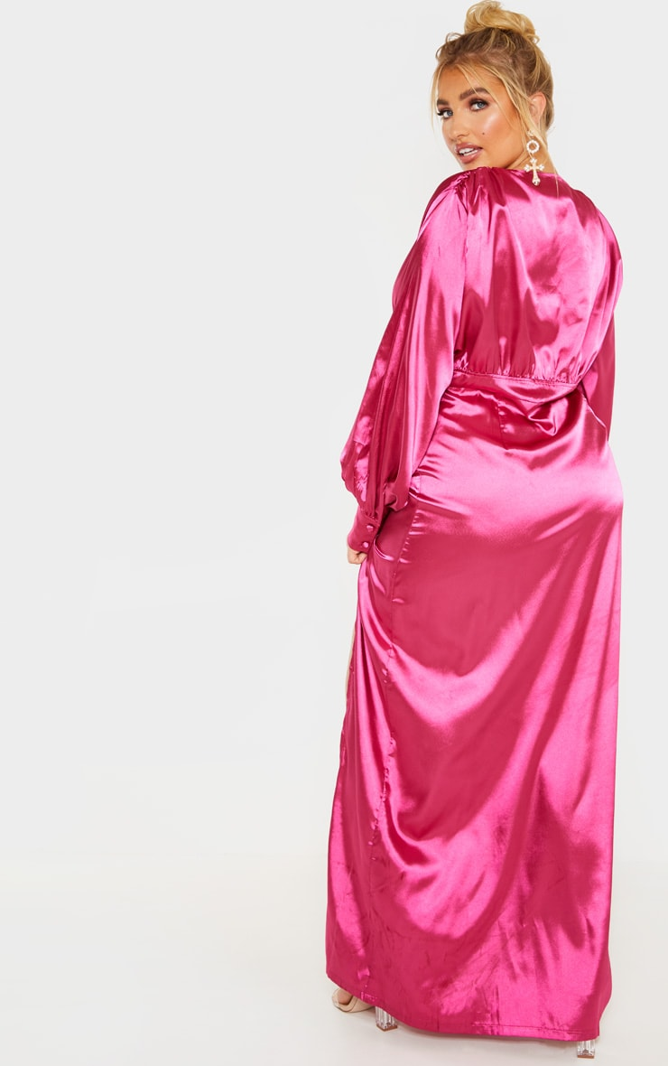 Plus Fuchsia Button Front Maxi Dress 2