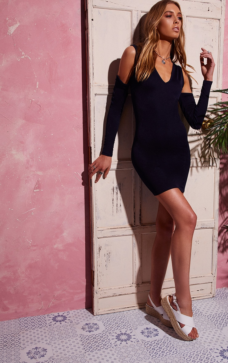 Navy Cold Shoulder Long Sleeve Plunge Bodycon Dress 4