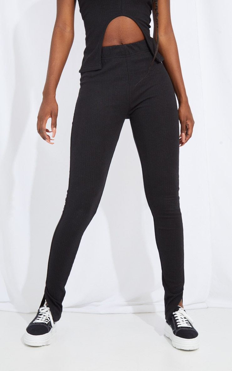 Tall Black Split Hem Ribbed Leggings 2