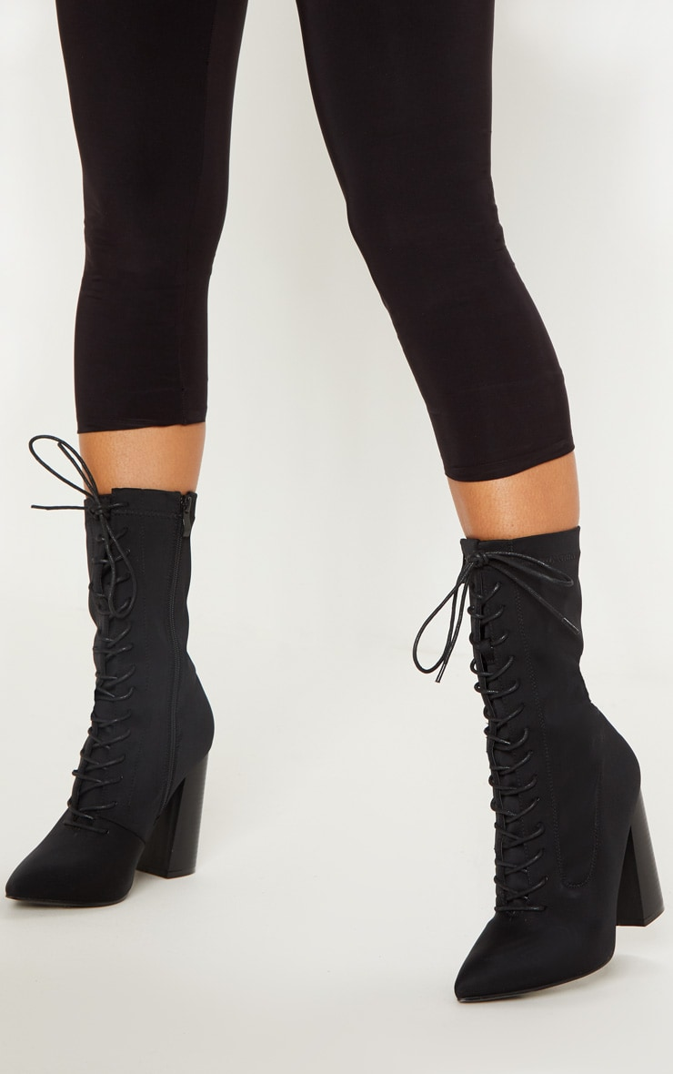 Black Block Heel Lace Up Lycra Sock Boot 1