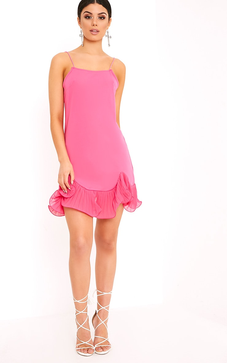 Darshia Hot Pink Strappy Pleated Frill Hem Shift Dress  4
