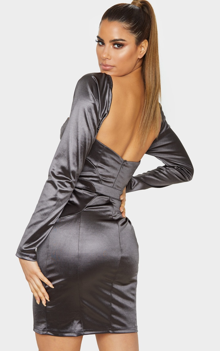 Tall Grey Long Sleeve Satin Cup Detail Belted Mini Dress 2