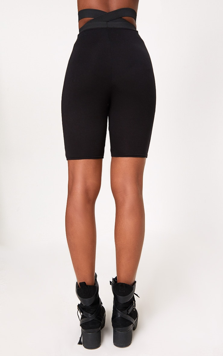 Black Strappy Waist Cycle Shorts 4