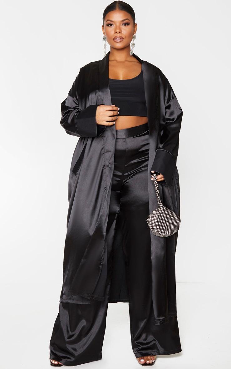 Plus Black Satin Contrast Detail Kimono 1