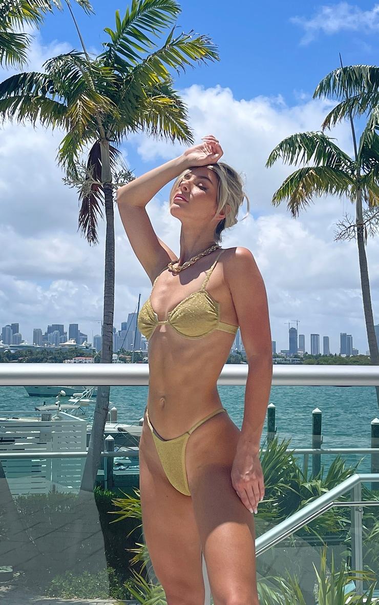 Gold Glitter Ruched Cup Bikini Top 4