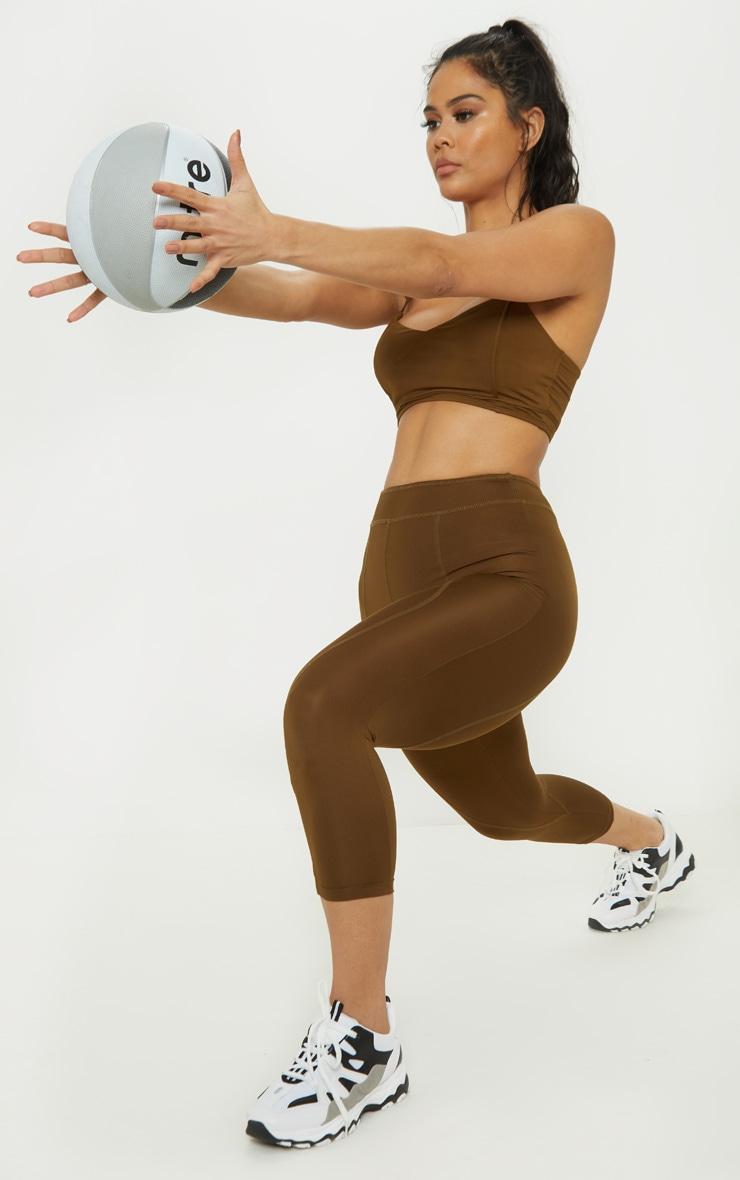 Khaki Stitch Cropped Gym Legging 1