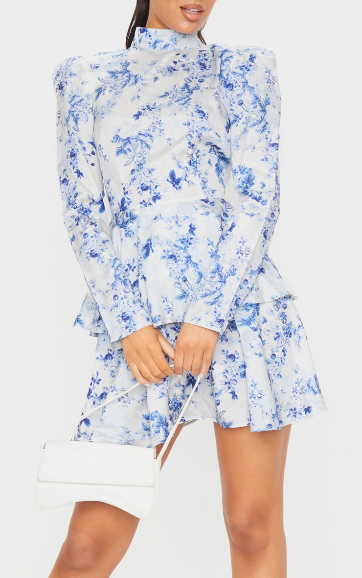 Blue Floral High Neck Tiered Skater Dress 4
