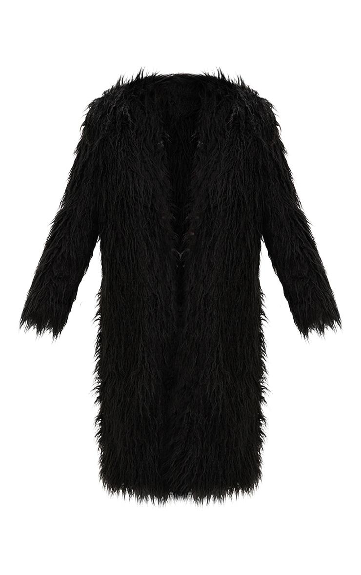 Manteau long en fausse fourrure hirsute noir 3