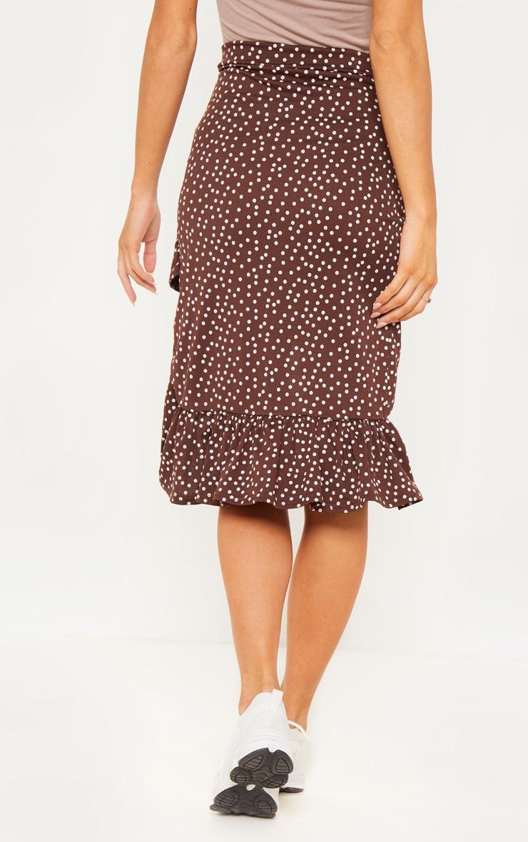 Chocolate Polka Dot Frill Midi Skirt 3