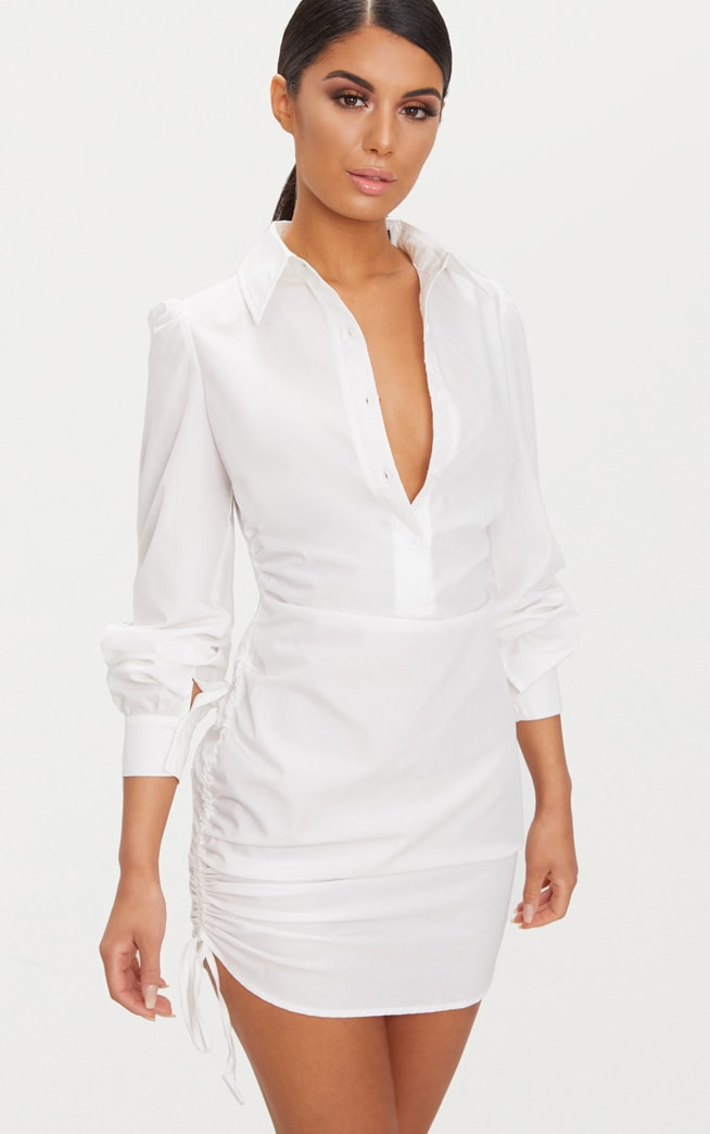 Ruched Side Fitted Shirt Dress