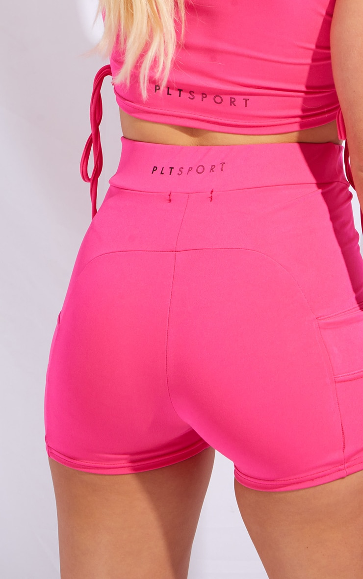 PRETTYLITTLETHING Hot Pink Sport Panelled Booty Shorts 5