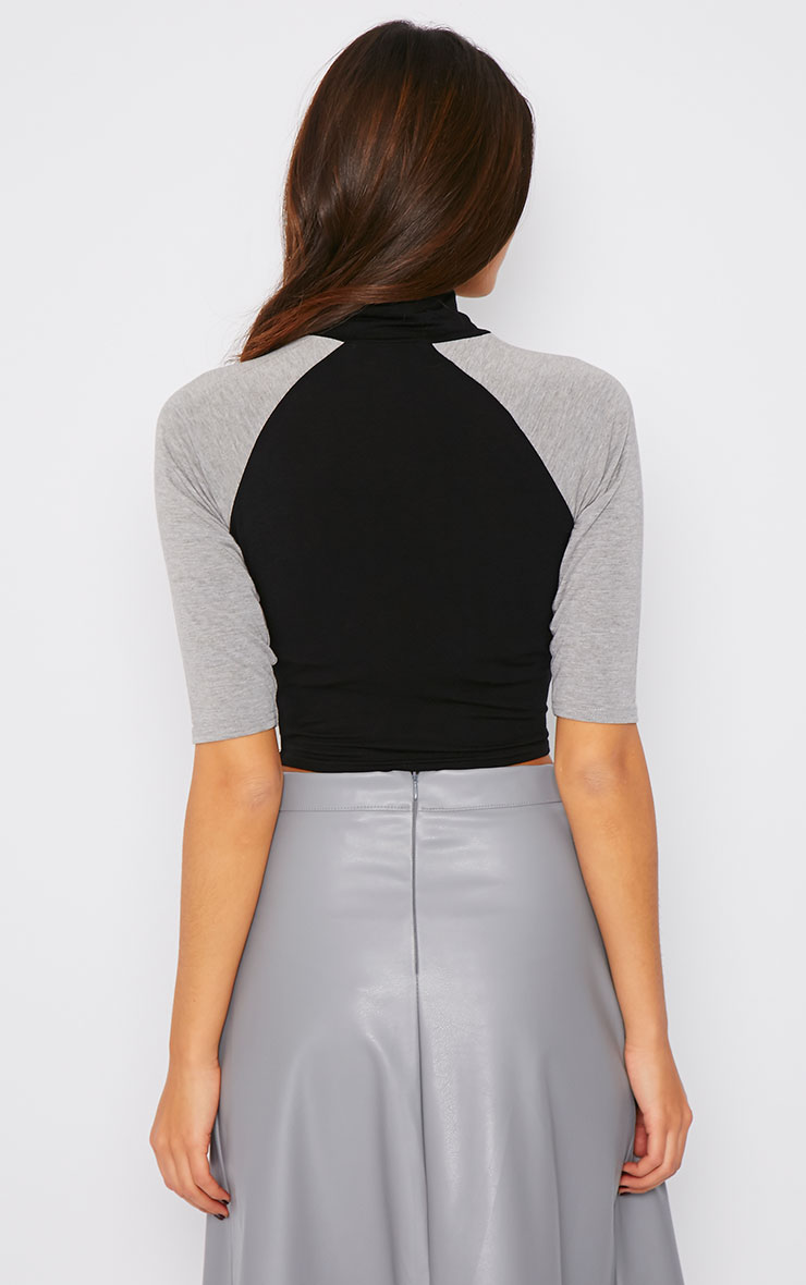 Dara Black and Grey Turtle Neck Crop Top  2