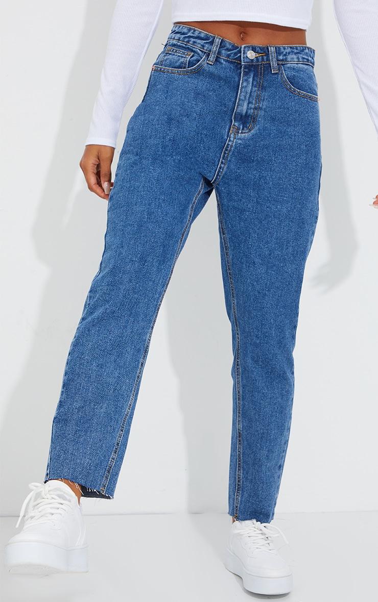PRETTYLITTLETHING Mid Blue Wash Raw Hem Cropped Slim Mom Jeans 2