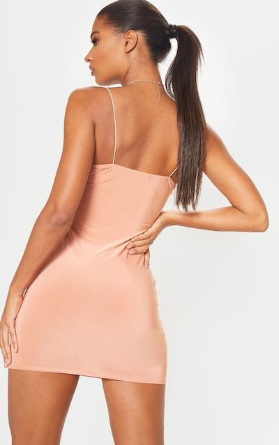 Chestnut Slinky Spaghetti Strap Bodycon Dress