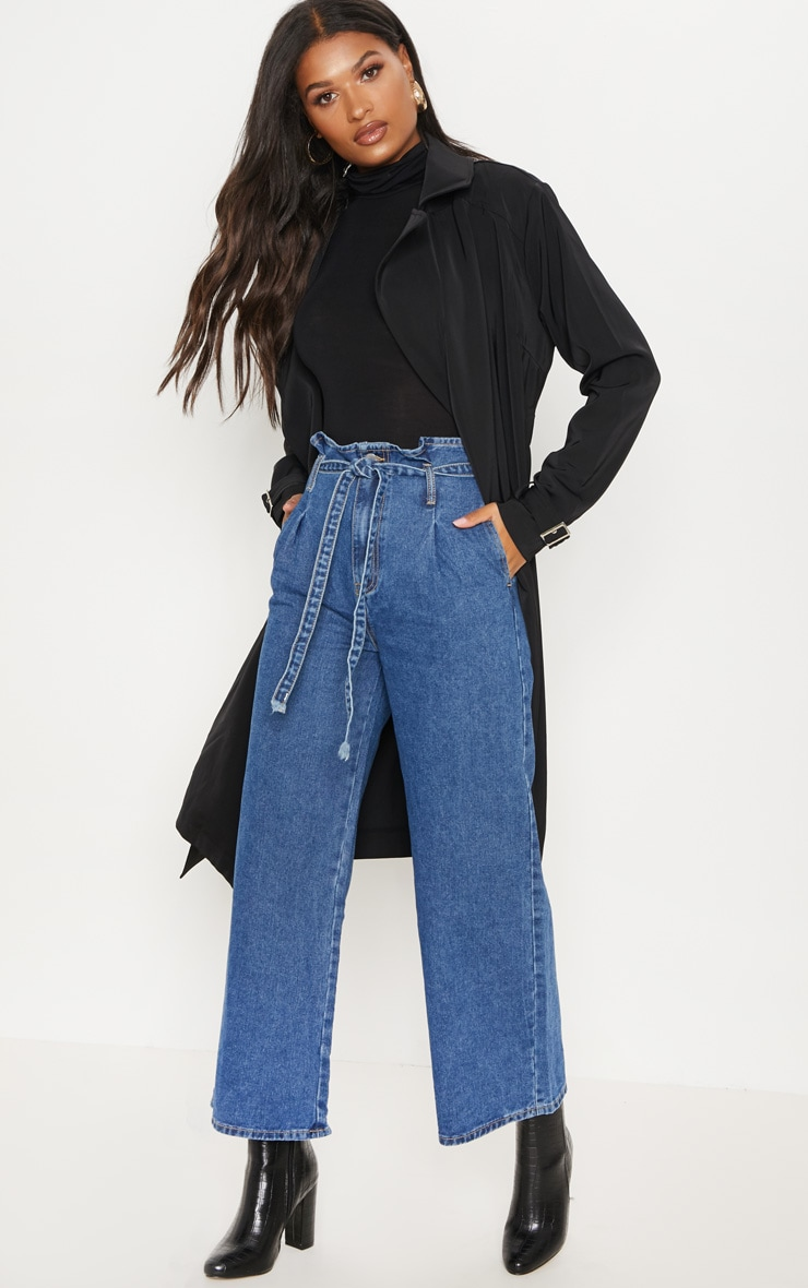 MID WASH WIDE LEG CROPPED PAPERBAG JEANS
