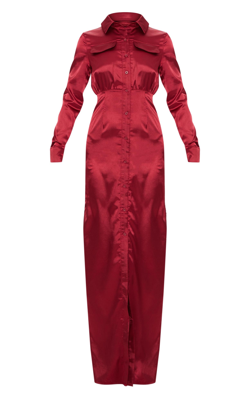 Burgundy Satin Utility Maxi Dress 3