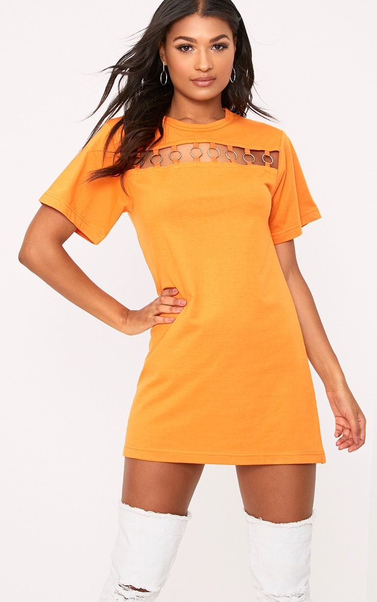 Orange Jersey Ring Chest Detail T Shirt Dress  1