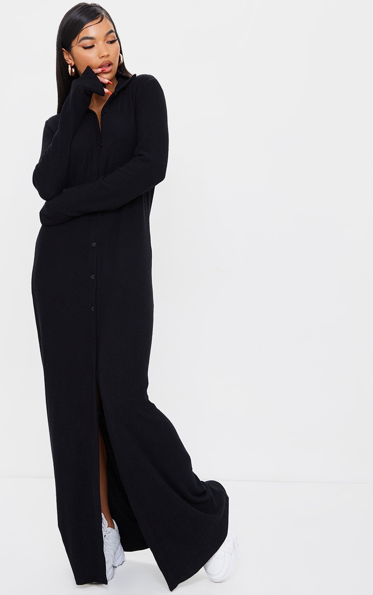 Black Brushed Rib Button Up Collar Detail Maxi Dress 1