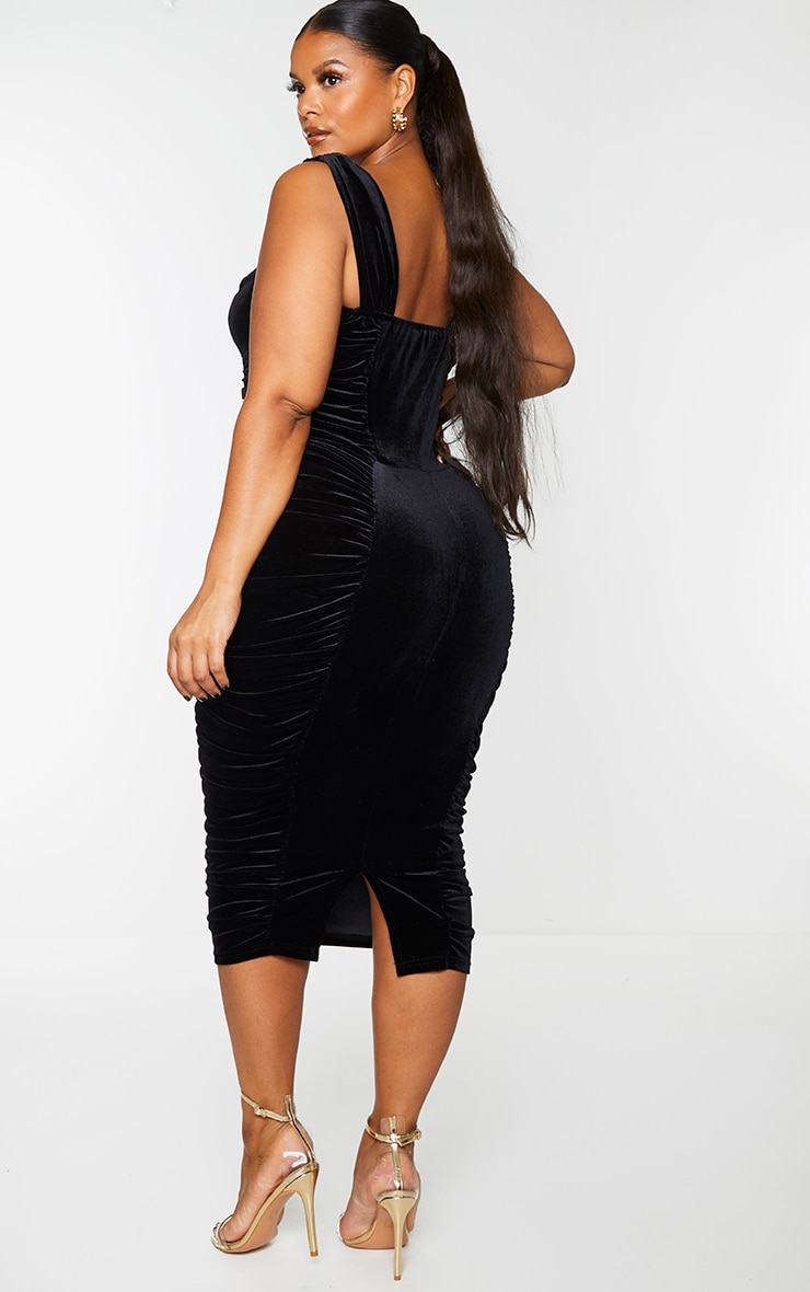 Plus Black Velvet Extreme Ruched Side Detail Midi Dress 2