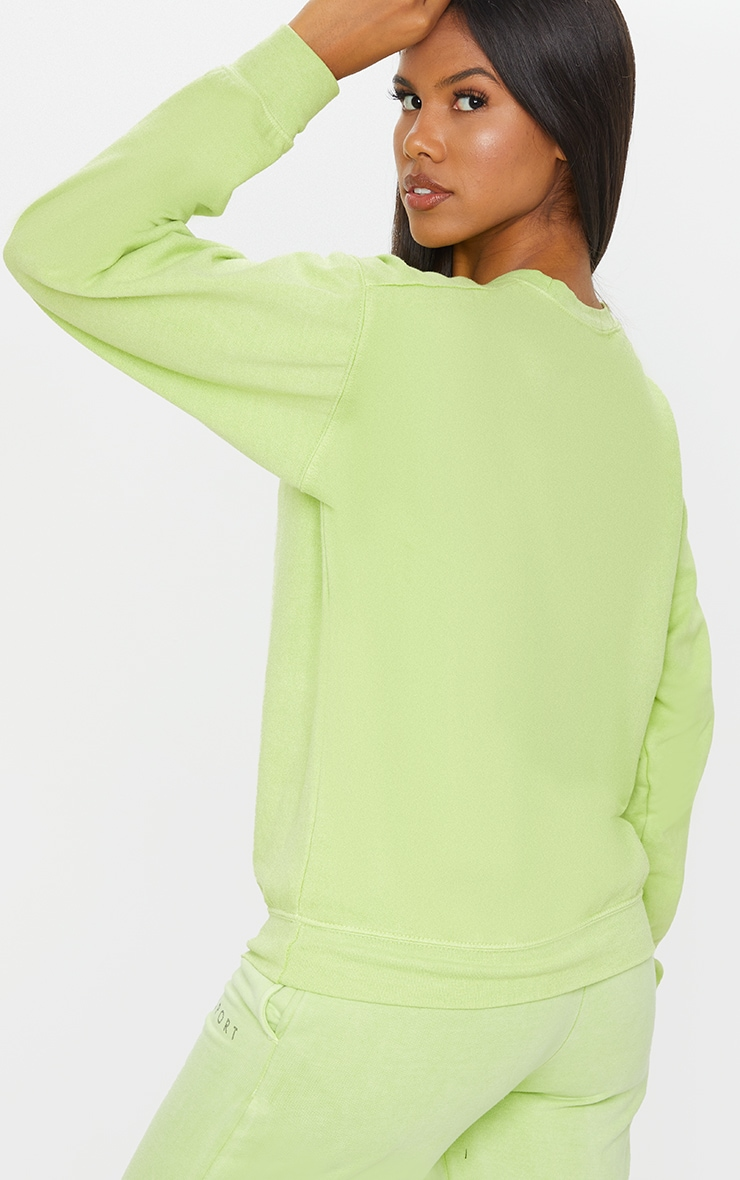 PRETTYLITTLETHING Lime Wash Sports Sweater 2