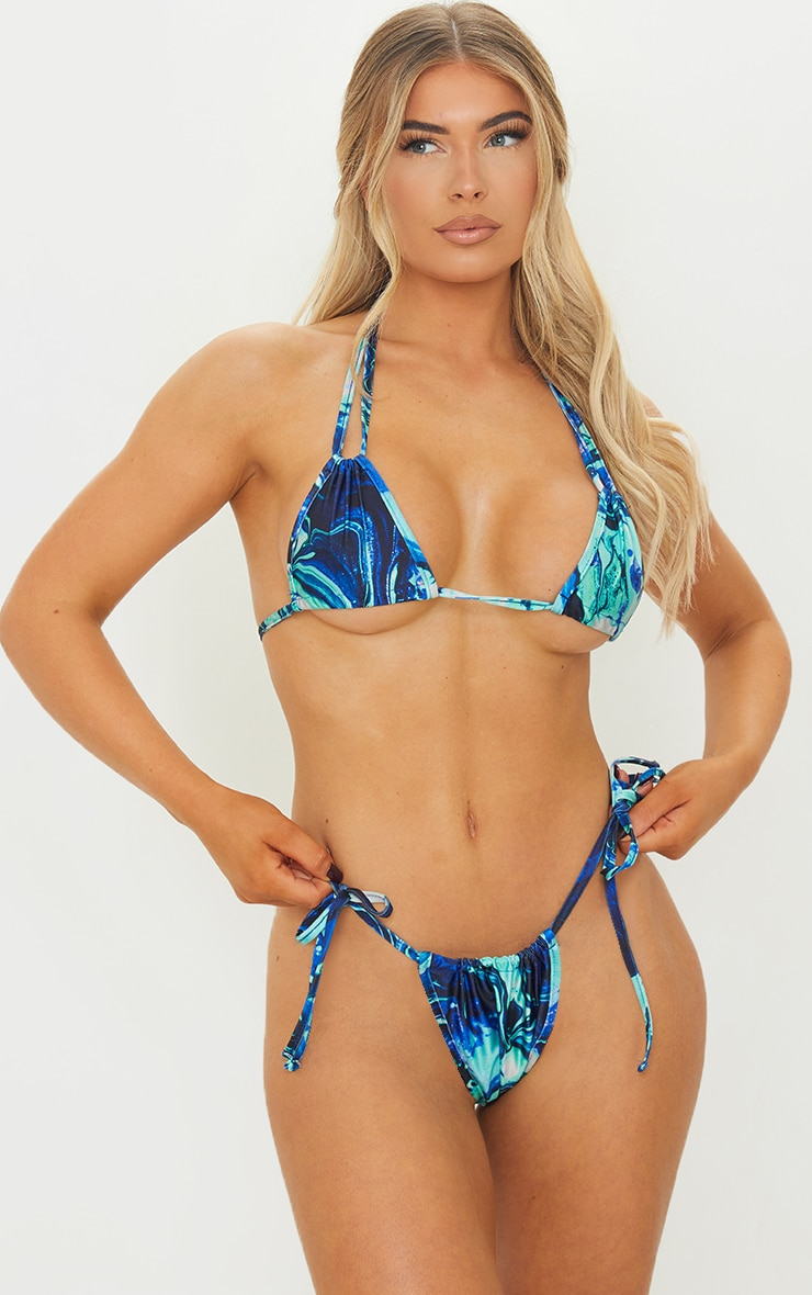 Blue Marble Halterneck Mini Ruched Triangle Bikini Top 3