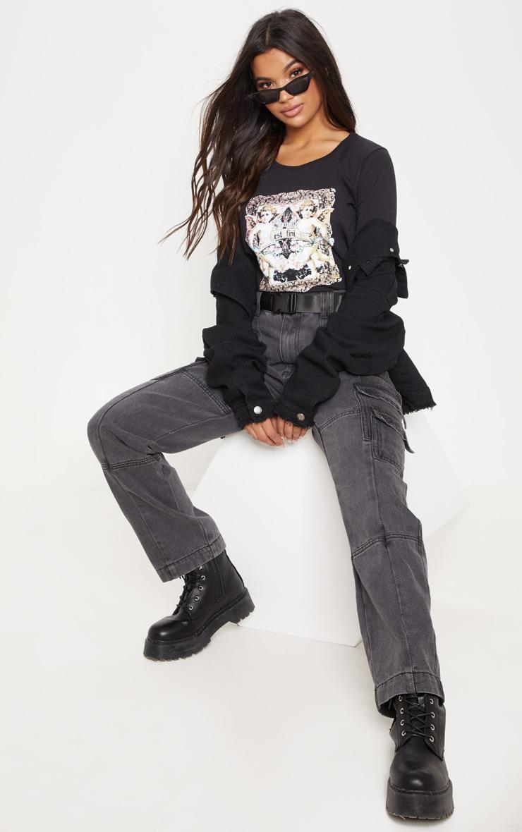 Black Cupid Print Long Sleeve T Shirt 4