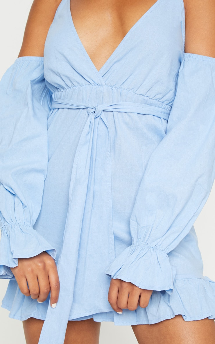 Blue Frill Detail Tie Waist Shift Dress 5