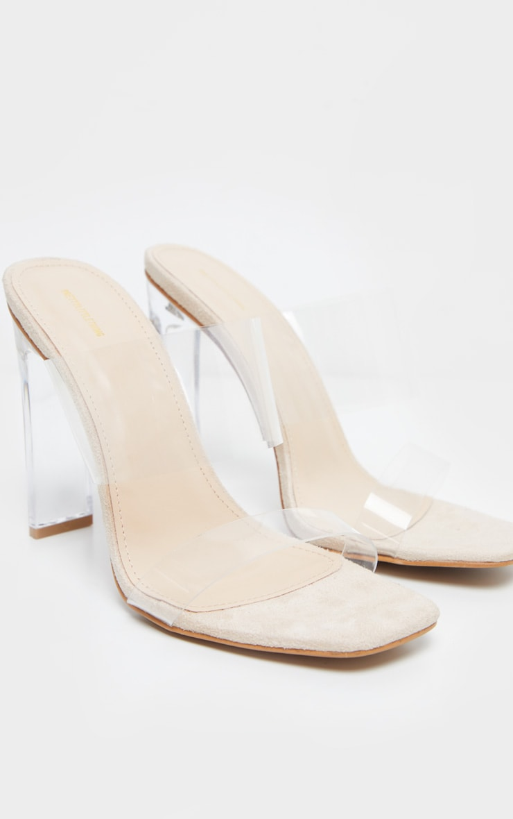 Nude Clear Heel Twin Strap Clear Mule 5