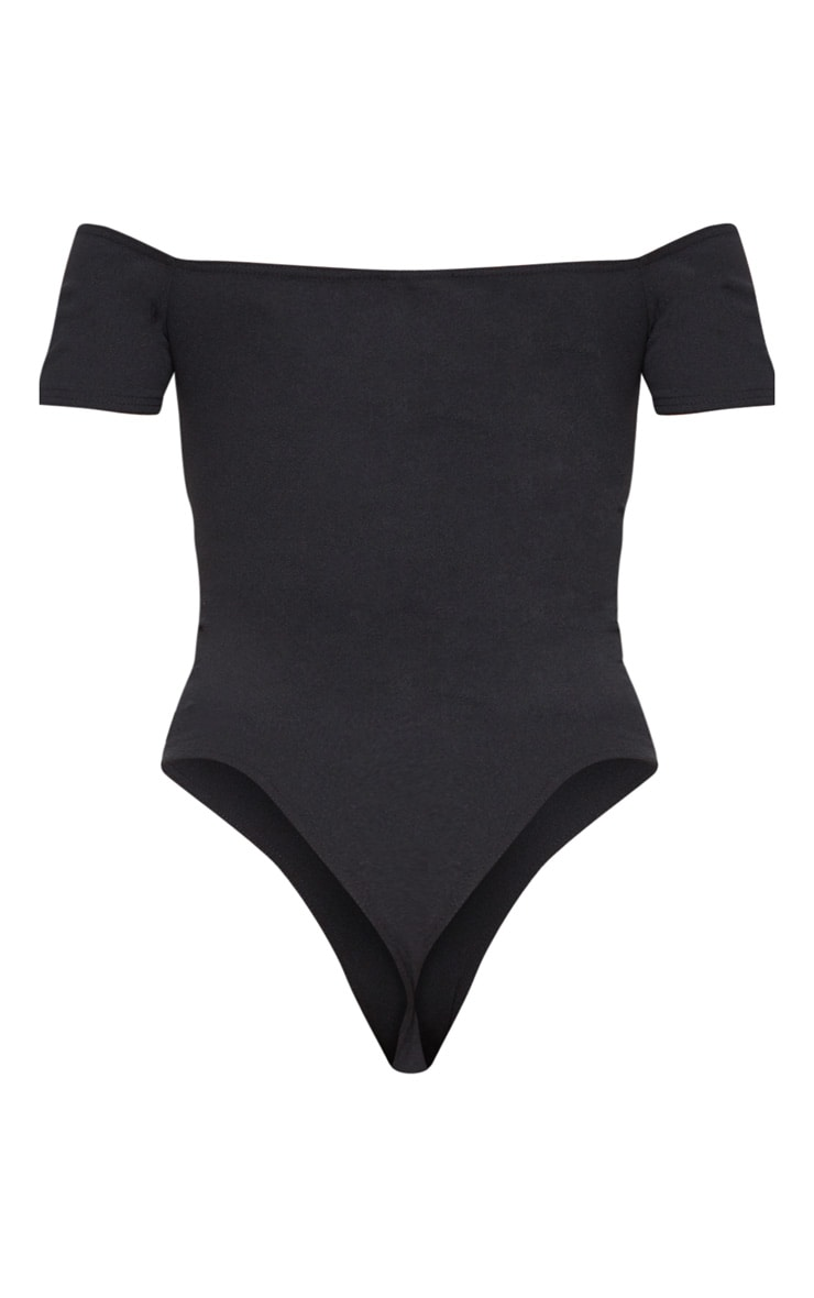 Black Crepe Bardot Wrap Bodysuit 4
