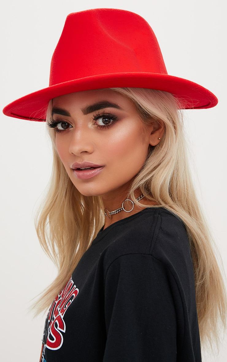 Tomato Red Felt Fedora Hat 1