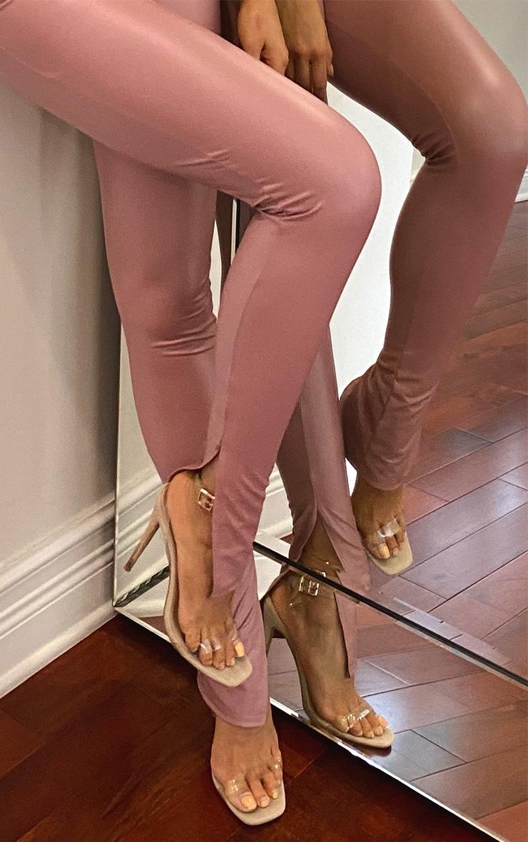 Tall Nude Split Hem Coated PU Legging 4