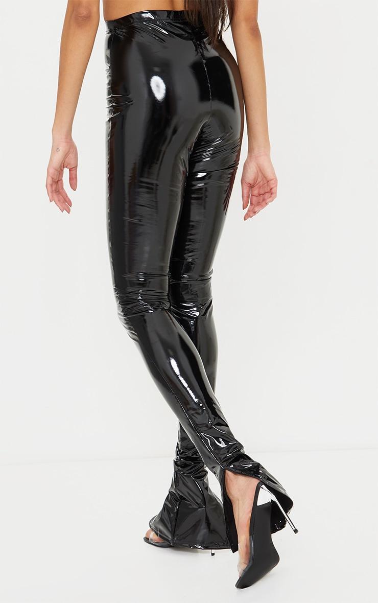 Tall Black Split Hem High Waisted Flared Vinyl Pants 3