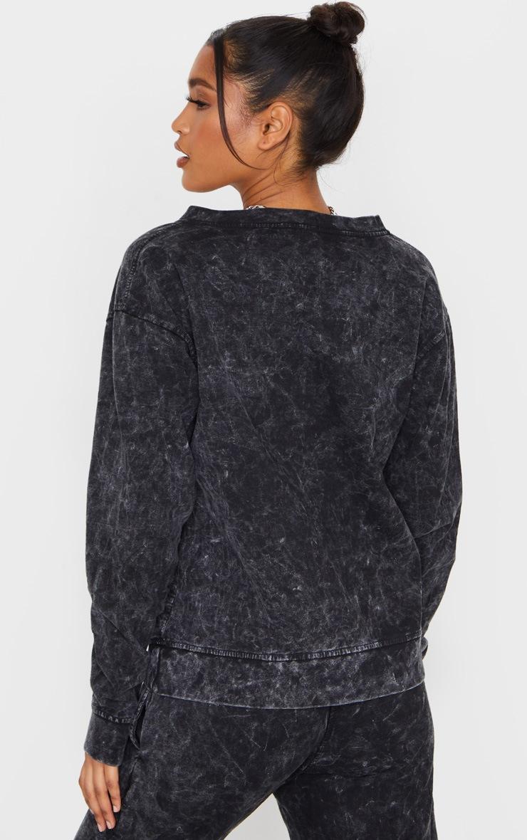 Black V Neck Long Sleeve Washed Sweater 2