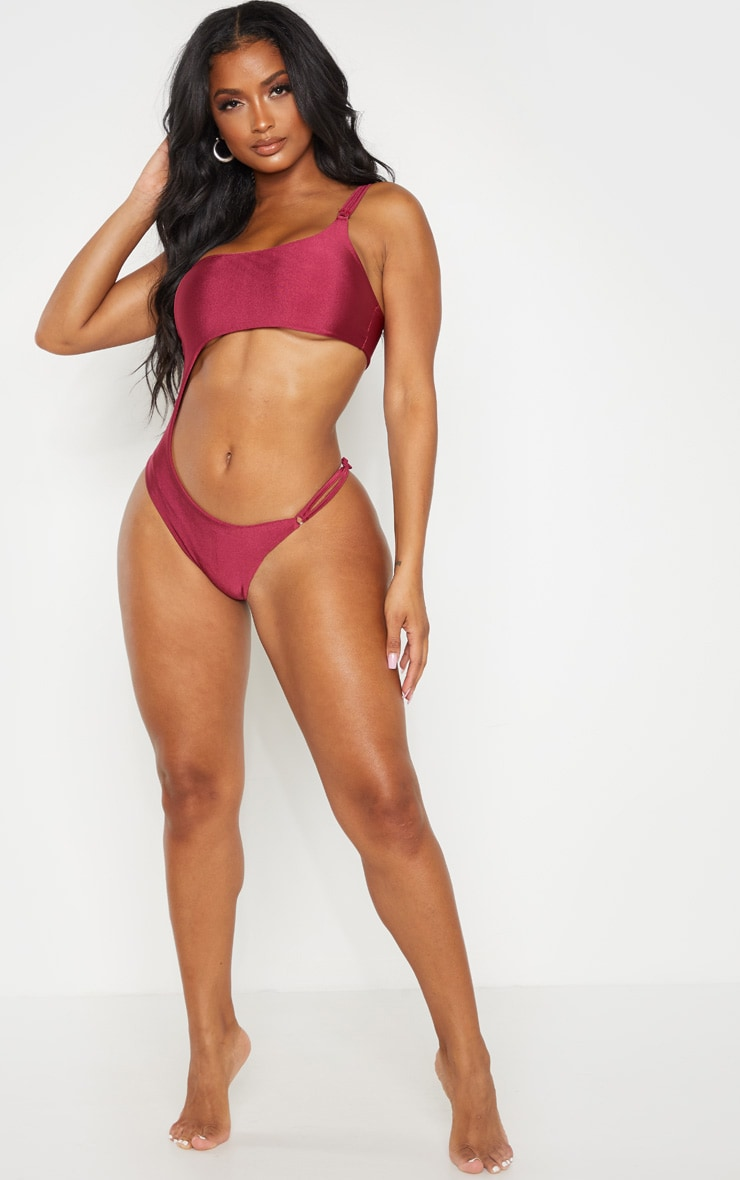 Shape Burgundy Cut Out Ring Detail One Shoulder Swimsuit 4