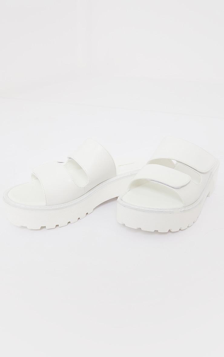 White Chunky Arch Flatform Twin Strap Sandals 3