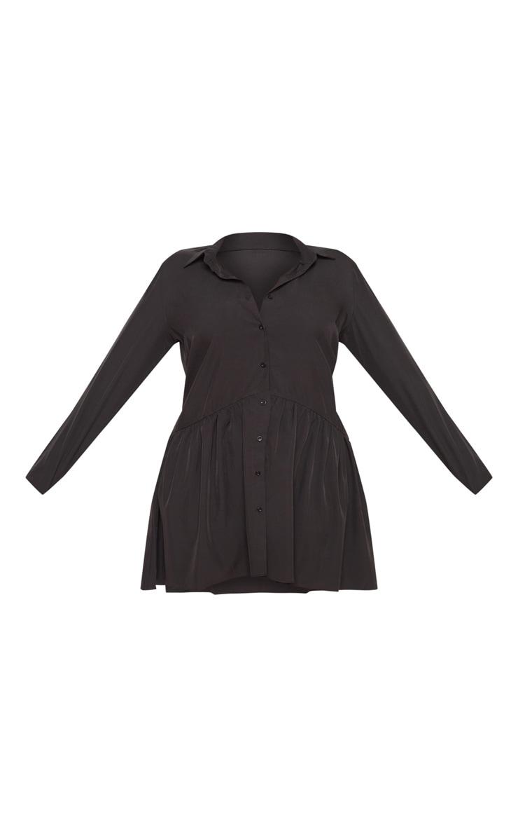 Plus Black Frill Hem Button Up Shirt Dress 2