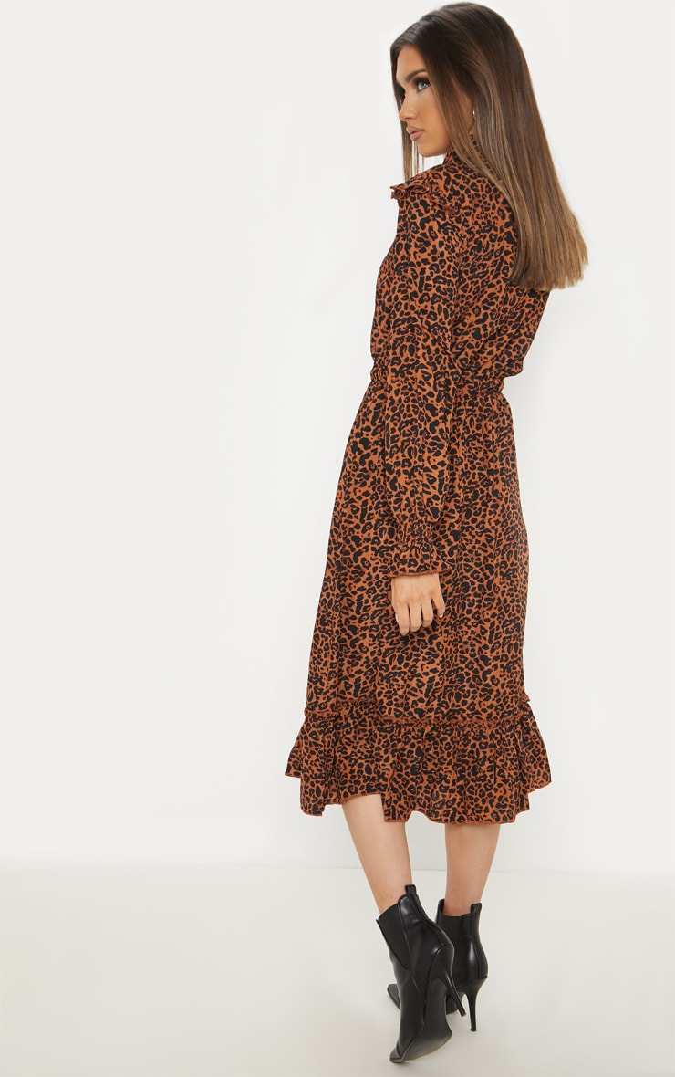 Rust Leopard Print Button Front Frill Midi Shirt Dress 2